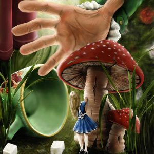 Alice, hiding behind a mushroom from the Mad Hatter