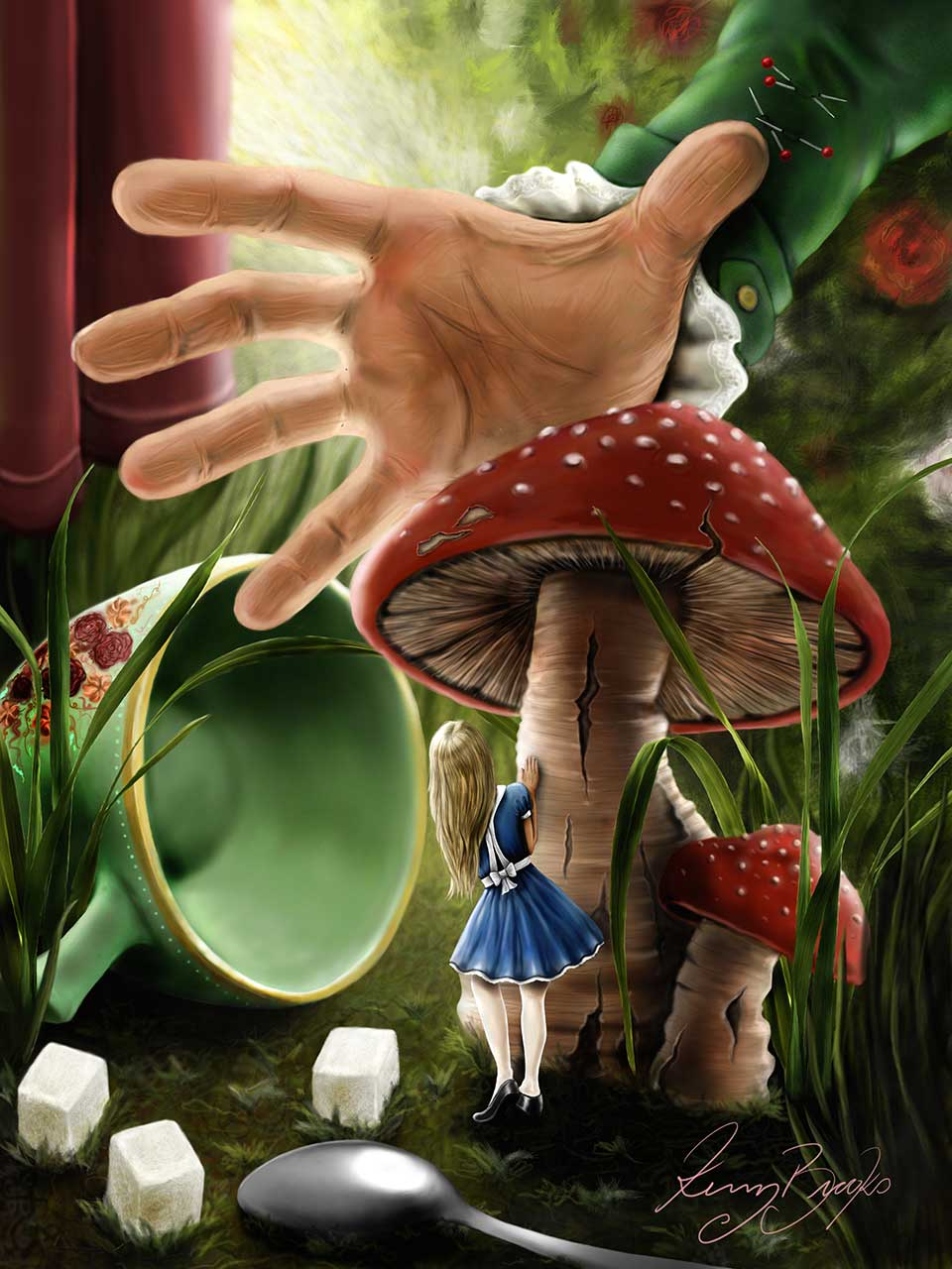 Alice, hiding behind a mushroom while the Mad Hatter reaches for her