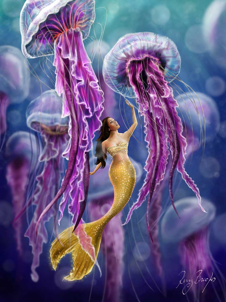 A mermaid with Jellyfish