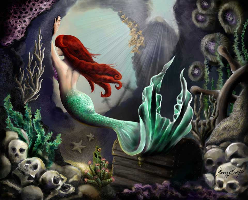 A mermaid painting by Kerry Brooks
